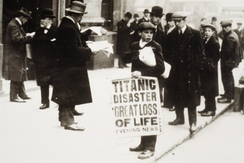 A newsie hawks papers announcing the sinking of the RMS Titanic. Archive Holdings Inc./Hulton Archive/Getty Images