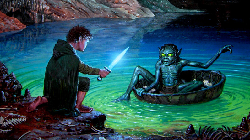 The creature Gollum, once a hobbit-like character named Smeagol, questions Bilbo Baggins with riddles. Could Gollum have survived in a cave? Where would his vitamin D have come from? The Riddle Game, copyright Ted Nasmith 2017, All Rights Reserved