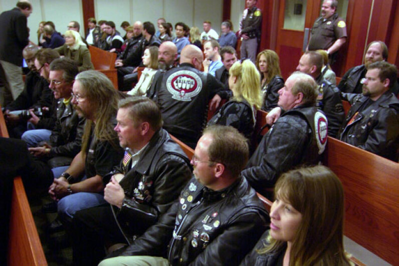 Bikers Against Child Abuse filled the courtroom during the Elizabeth Smart abduction trial in 2003. © Douglas C. Pizac-Pool/Getty Images