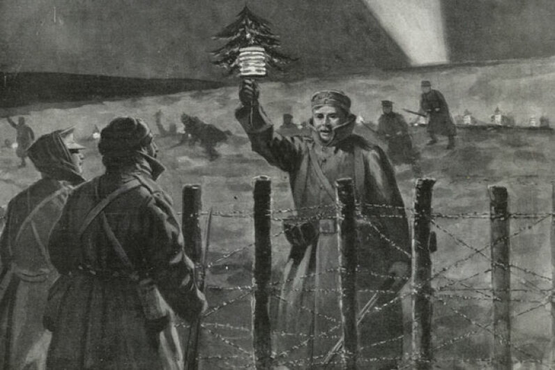 This illustration of a German soldier approaching the British lines with a small Christmas tree appeared in a newspaper report of the Christmas Truce. © Photo by The British Library/Robana via Getty Images