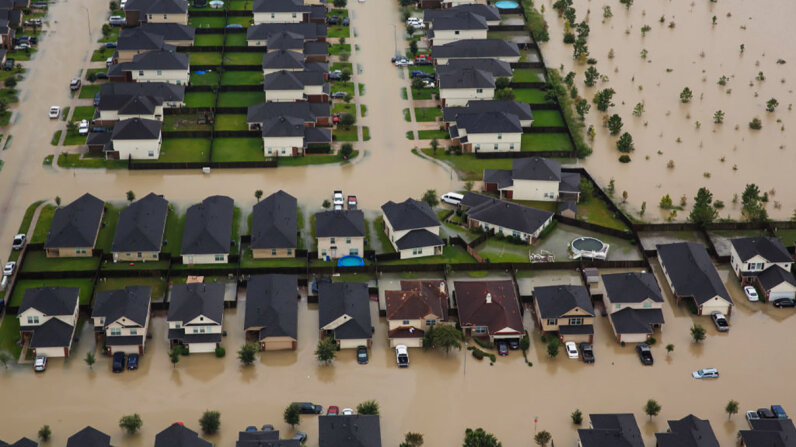 hurricane harvey flooded suburban houston homes