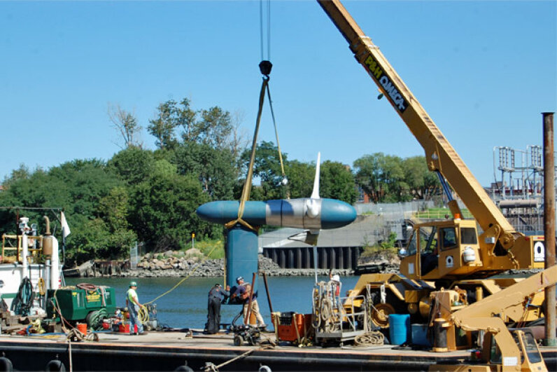 Verdant Power's fifth generation turbine system gets an in-water test in New York City's East River in 2012. Image courtesy Verdant Power, Inc.