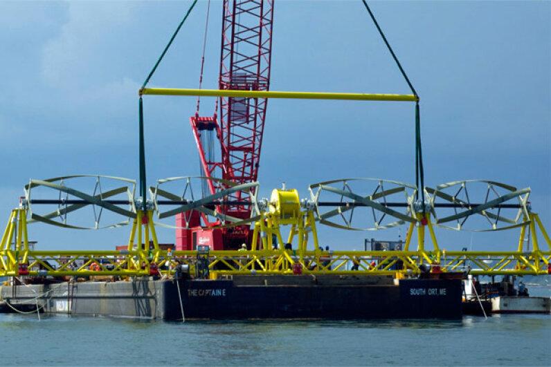 Ocean Renewable Power's TidGen turbine generator unit being readied for installation at the Cobscook Bay Tidal Energy Project site Image courtesy Ocean Renewable Power