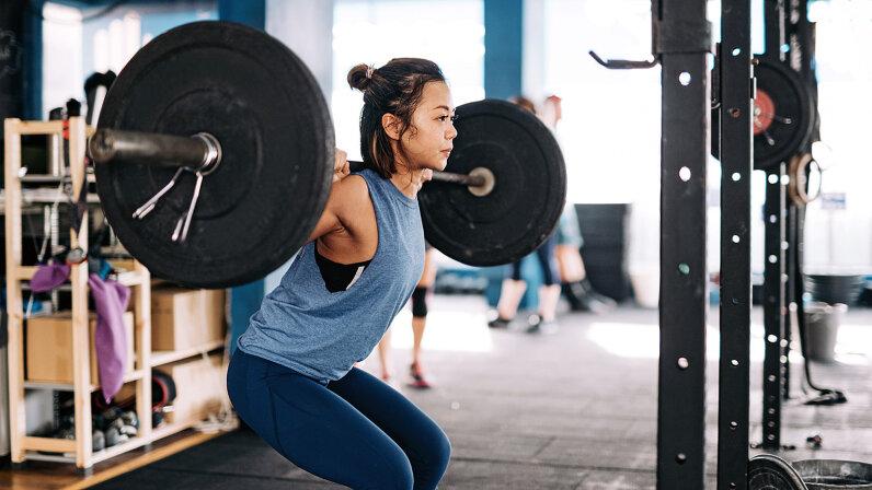 girl doing strength training