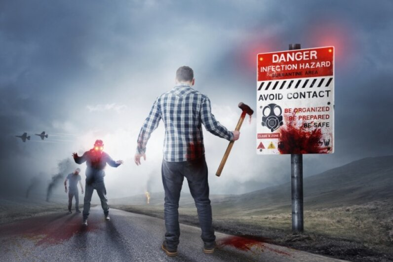 The key to protecting yourself during a zombie attack is using quieter weapons that draw less attention (and fewer zombies) to the altercation. Solarseven/iStock/Thinkstock