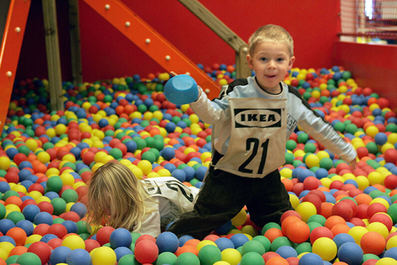 Do yourself -- and your fellow shoppers -- a favor, and drop the kiddos off at Smaland first. SVEN NACKSTRAND/AFP/Getty Images
