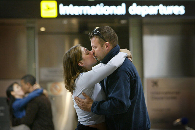 Kara Sandler leaves for Boston and says goodbye to fiancé Richard Gotzman who because of a visa delay will stay in Melbourne, Australia. Green card marriage fraud makes up a very tiny percentage of the marriages involving foreign spouses. Fairfax Media/Fairfax Media via Getty Images