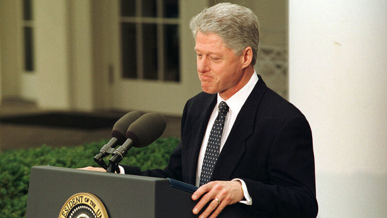 "President Bill Clinton became only the second president in history to be impeached. He was ultimately aquitted by the Senate, and spoke from the Rose Garden on Feb. 12, 1999, saying he was ""profoundly sorry."" Richard Ellis/Contributor/Getty Images"