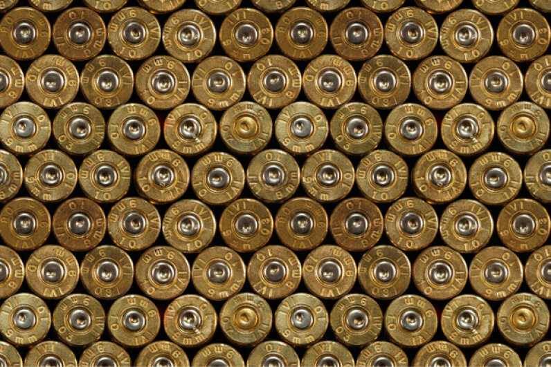 The smaller circular plug at the base of all these cartridges identifies them as center-fire cartridges. iStockphoto/Thinkstock