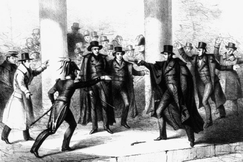 This illustration shows Lawrence's attempt on President Andrew Jackson's life on Jan. 30, 1835. © CORBIS