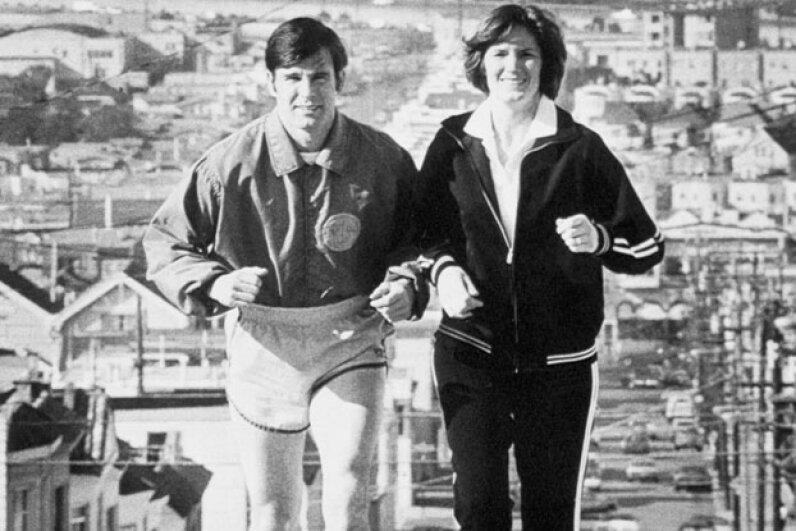 Happier times: Dan White and his wife Mary Ann jogging in San Francisco on Nov. 21, 1978, the year before he assassinated Moscone and Milk. © Bettmann/Corbis