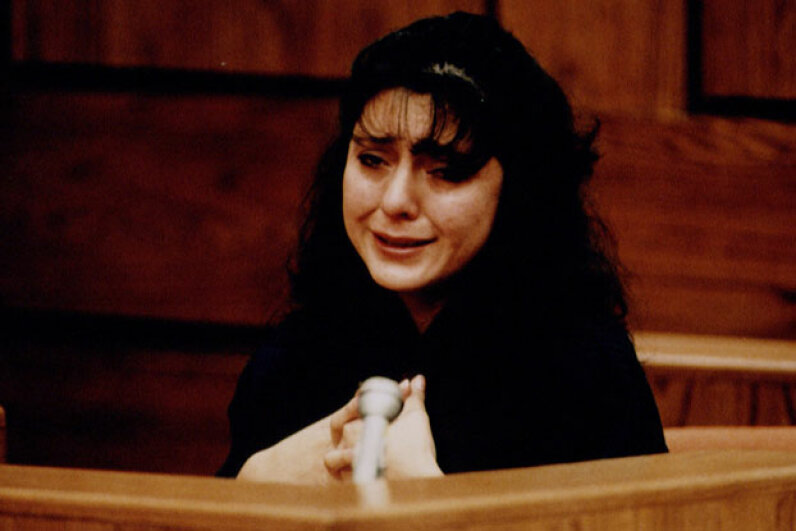 Lorena Bobbitt broke down on the stand during her trial in early 1994. © Jeffrey Markowitz/Sygma/Corbis