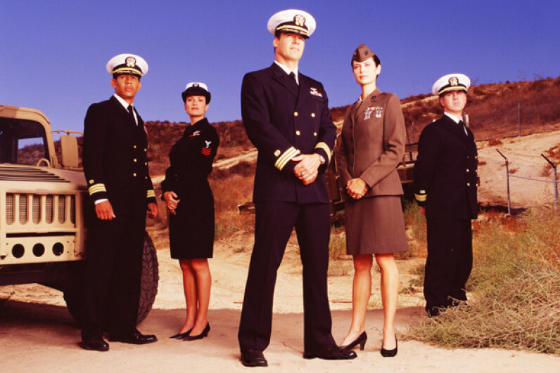 "The cast of the tenth season of ""JAG"" in 2002. CBS Photo Archive/Getty Images"