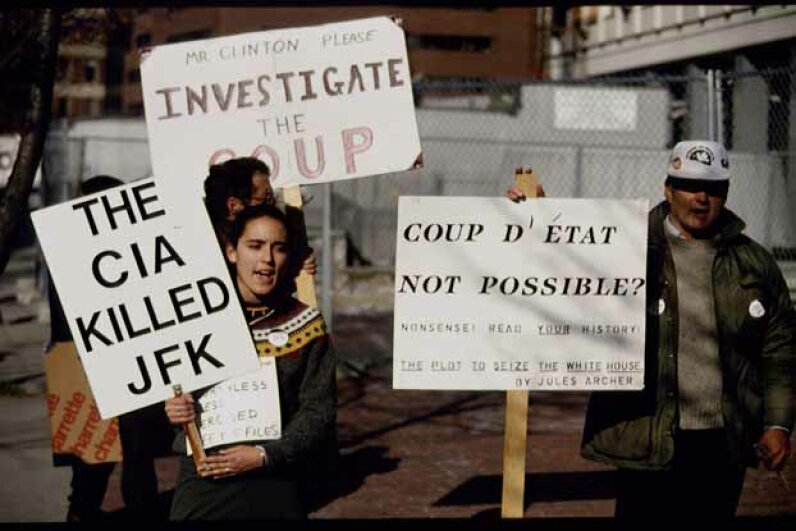 On the 30th anniversary of Kennedy's death in 1993, demonstrators demanded another investigation. © Brooks Kraft/Sygma/Corbis