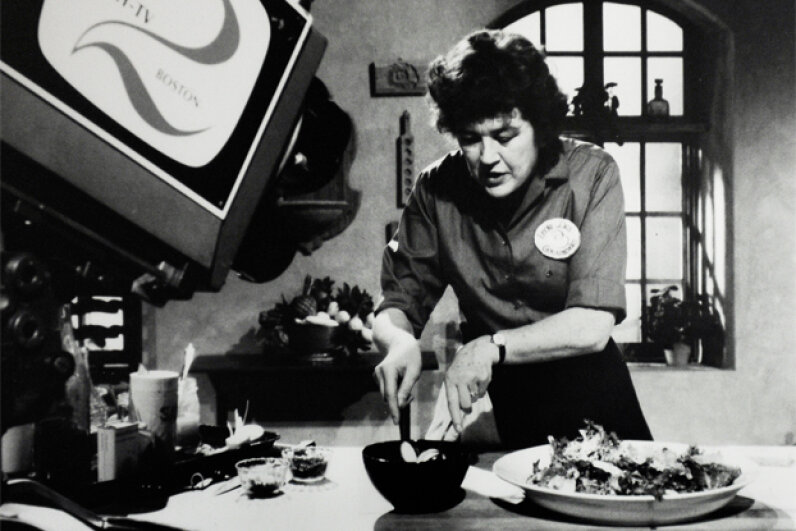 A 1960s-era photo of Julia Child taping an episode of her TV show in her home kitchen. Michael S. Williamson/The Washington Post/Getty Images