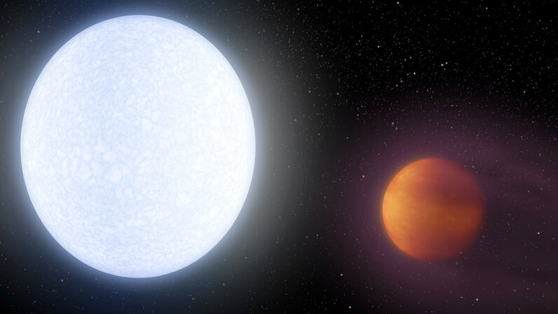 This artist's concept shows planet KELT-9b (right) orbiting its host star, KELT-9. It is the hottest gas giant planet discovered so far. NASA/JPL-Caltech