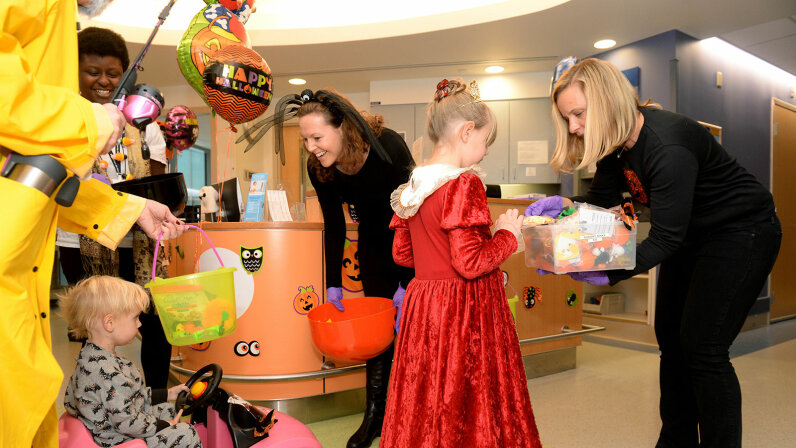Trick or treater dressed as princess, Boston Children's Hospital