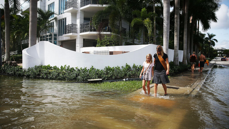 People walk through a flooded street in Fort Lauderdale caused by a king tide. Many cities in South Florida have begun installing pumps and building sea walls to try and combat the rising oceans. Photo by Joe Raedle/Getty Images