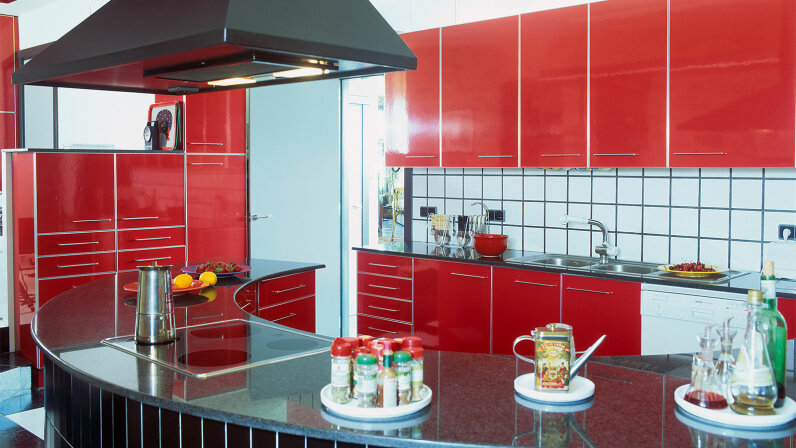 red kitchen with hood