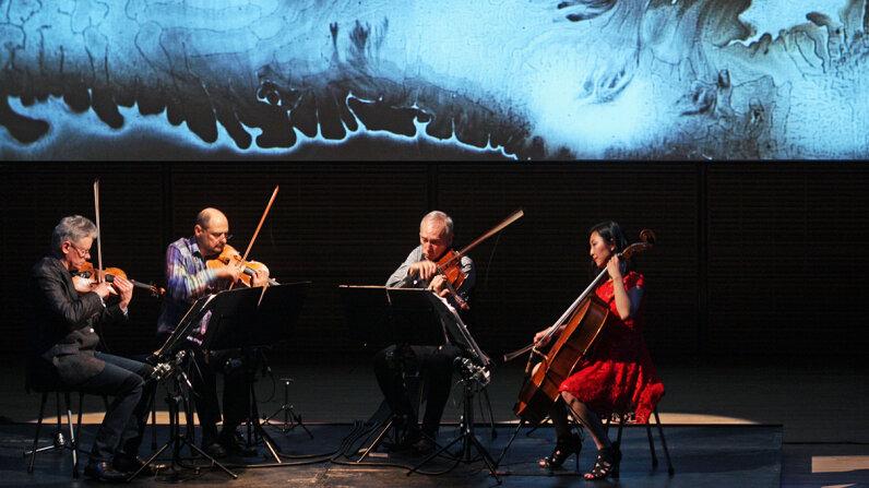 Kronos Quartet, pictured here in 2015, will create a quasi-improvised performance to be paired, and shaped by, the sonification of the Monday, Aug. 21, 2017, total solar eclipse. Hiroyuki Ito/Getty Images
