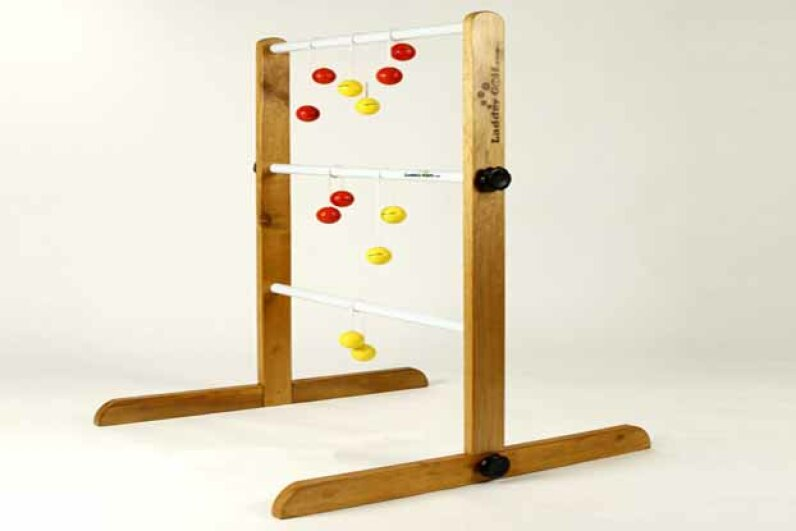 You can buy a ladder ball game (under the trademark Ladder Golf) but you can build your own set as well. Ladder Golf