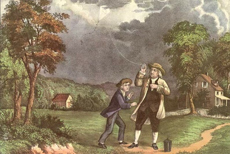 This  Currier & Ives lithograph shows Benjamin Franklin and his son William using a kite and key during a storm to prove that lightning was electricity. Some experts doubt the incident ever happened. Hulton Archive/Getty Images