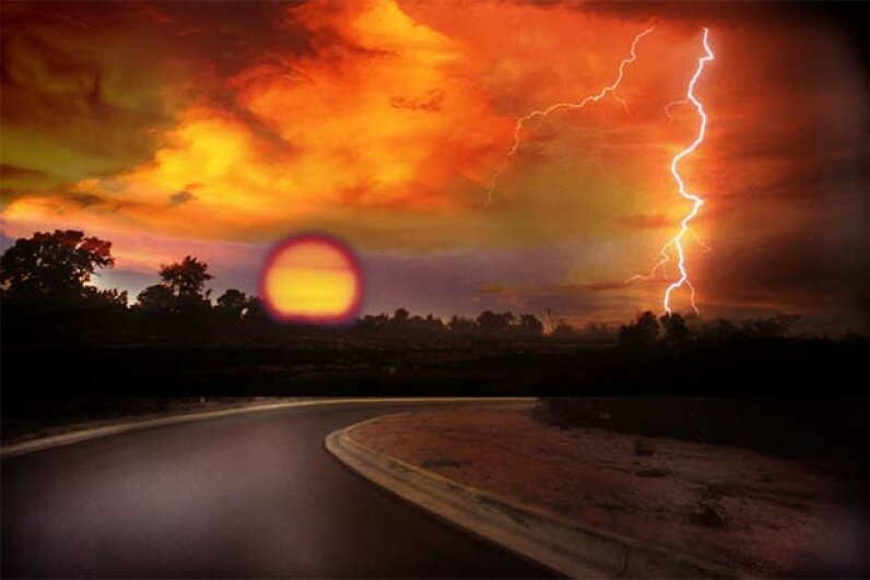 Lightning can also strike when the sun is out. Lyle Leduc/Getty Images