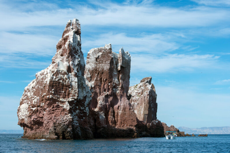 Snow-capped peaks? Nope. The Los Islotes islands in Mexico's Sea of Cortez are covered in bird poop. Wolfgang Kaehler/Getty Images
