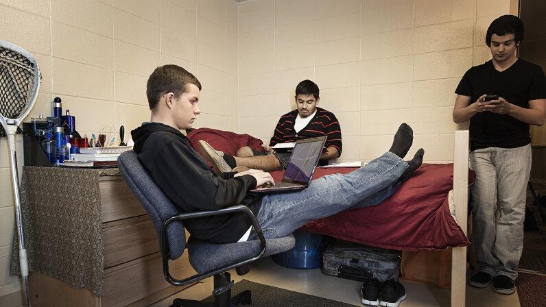 college kids in dorm