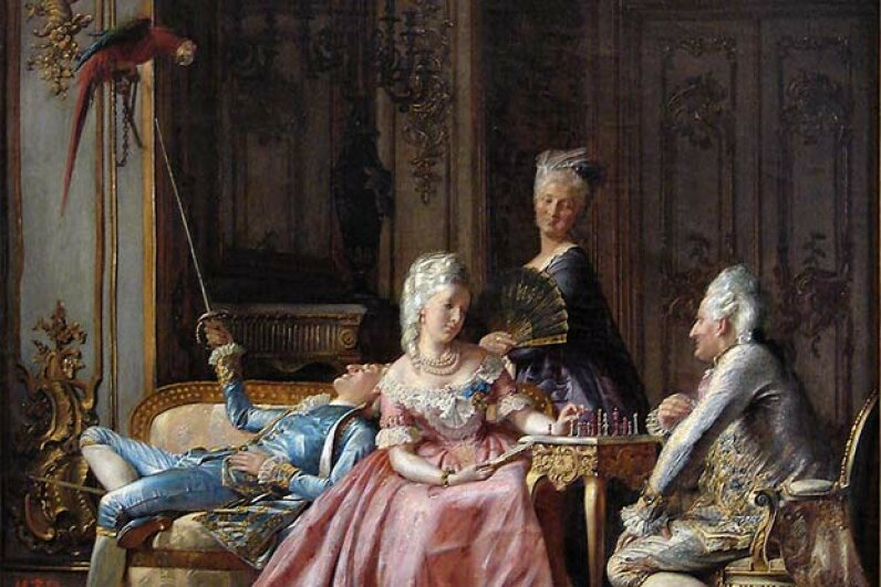 This 19th century painting by Kristian Zahrtmann shows Queen Caroline Matilda and Johann Friedrich Struensee playing chess while King Christian VII plays with a parrot, the traditional symbol of frivolity. The dowager queen looks on  attentively.  Wikimedia Commons