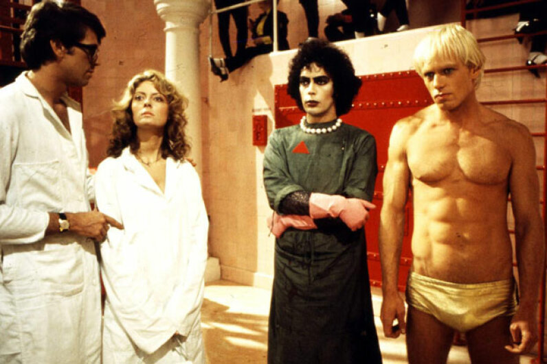 In this awkward moment from mad science history, Brad, Janet, Frank-N-Furter and Rocky Horror all take a moment to think about what they've done. GAB Archive/Redferns/Getty Images