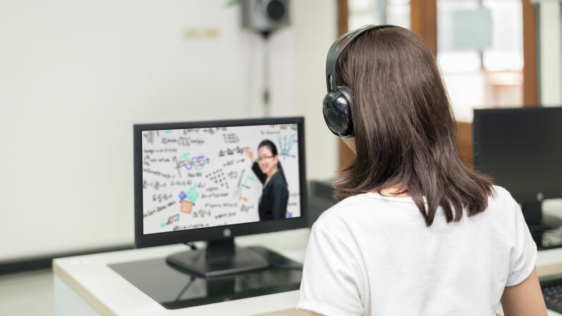 Asian woman student video conference e-learning with teacher