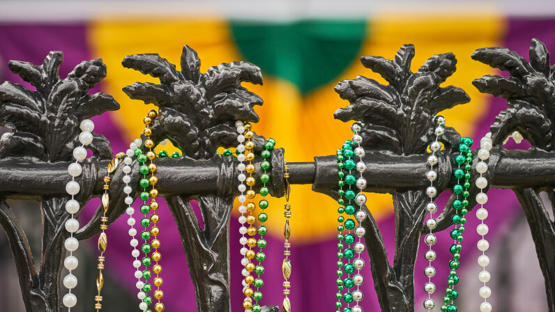 beads on a balcony in New Orleans