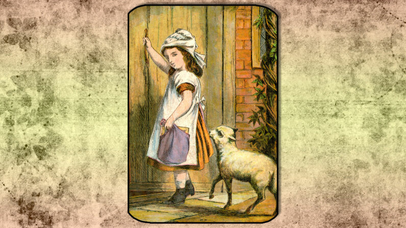 """19th century illustration of the """"Mary Had a Little Lamb"""""""