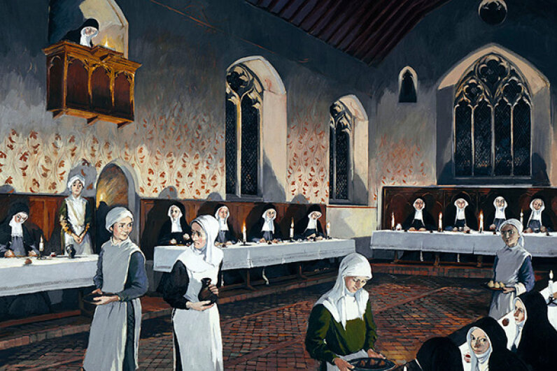 This reconstruction drawing shows a refectory in Denny Abbey, England, as it may have appeared in the 15th century. During this time, nuns at various convents began meowing and biting each other. English Heritage/Heritage Images/Getty Images