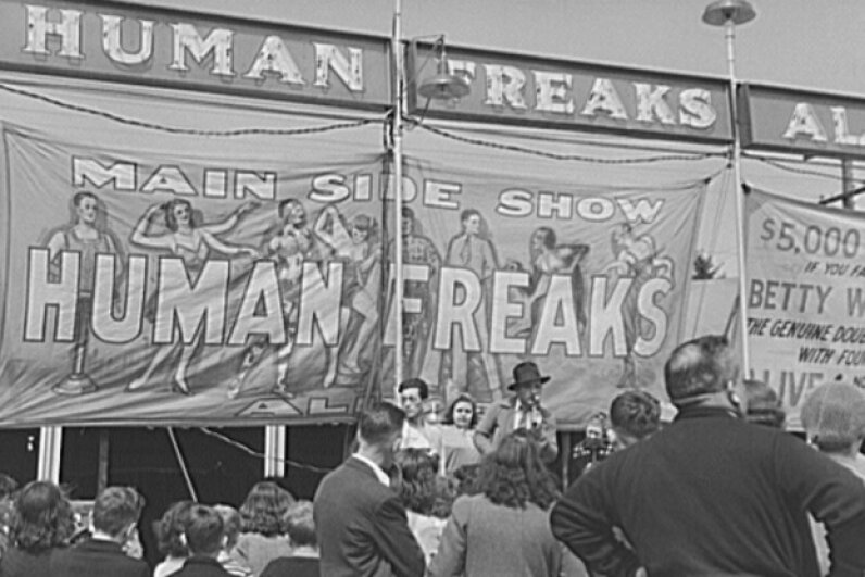 "Sideshows may have mislabeled their performers as ""freaks,"" but the entertainers had medical conditions that were truly fascinating and anomalous. Library of Congress, Prints & Photographs Division, FSA/OWI Collection, [LC-USF34-045516-D]"