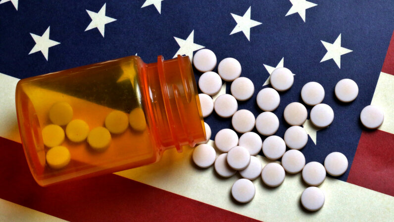flag and pills