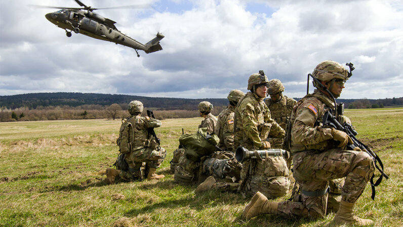 U.S. Black Hawk helicopter pilots are taking part in a joint-training exercise in Germany with soldiers from the Army's 3rd Squadron, 2nd Cavalry Regiment, in anticipation of working together during future missions. U.S. Army/Spc. Thomas Scaggs