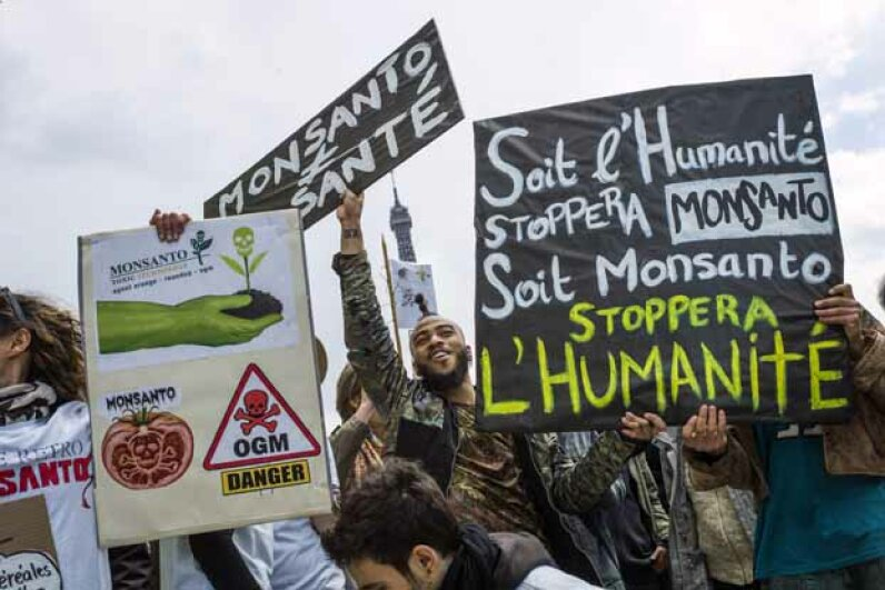 Anti-GMO activists gather on the Trocadero square near the Eiffel Tower, Paris, during a demonstration against Monsanto and GMOs, which they believe are toxic. FRED DUFOUR/AFP/Getty Images
