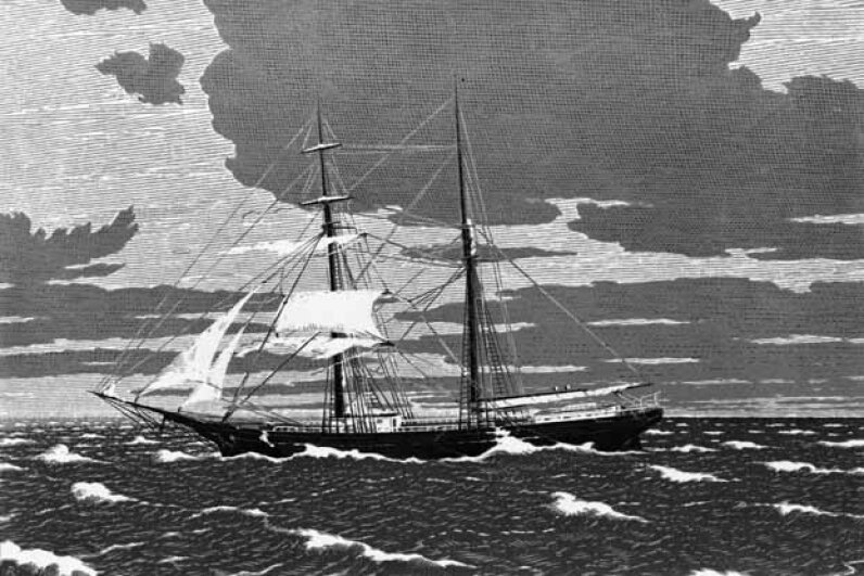 The Mary Celeste was found unmanned drifting towards the Strait of Gibraltar in 1872. DeAgostini/Getty Images