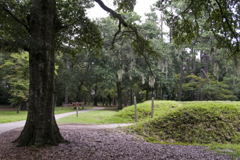 Reconstructed earthworks were done at the site of Fort Raleigh, built by English settlers of the 'Lost Colony' at Roanoke, N.C. Dennis K. Johnson/Lonely Planet Images/Getty Images