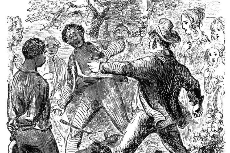 """This illustration, taken from the book """"Twelve Years a Slave,"""" shows Solomon Northup refusing to flog his fellow slave Patsey. Wikimedia Commons"""