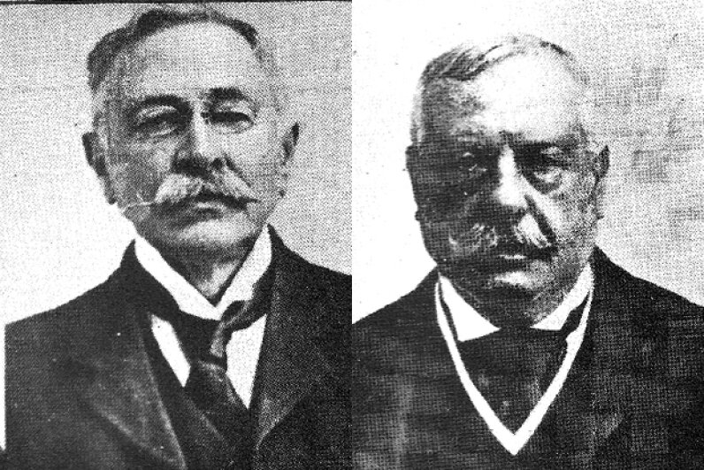 Aside from being white guys with mustaches, Adolf Beck (left) and Frederick Meyer didn't actually look all that similar. Public Domain/Wikipedia