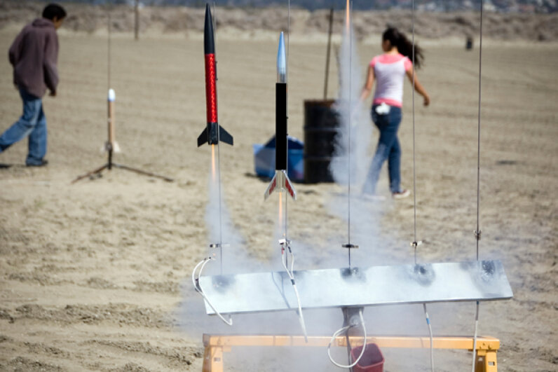 Current model rockets are much safer than classic versions, and are made from lightweight materials and using simple motors. Paul Erickson/iStock/Thinkstock