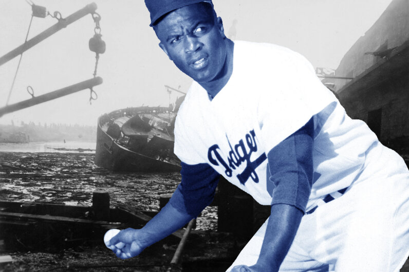 Jackie Robinson's breaking of the color barrier in baseball captured far more attention than the Texas City explosion that killed nearly 600. Wikimedia Commons/Photo File/MLB Photos via Getty Images