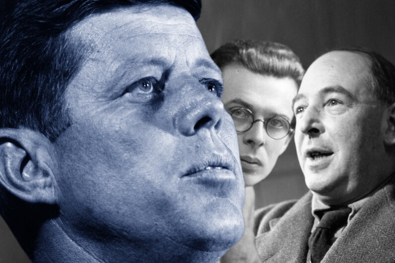 C.S. Lewis (right) and Aldous Huxley (center) both died on the same day as John F. Kennedy but Kennedy's assassination obscured everything else. Keystone/EdwardGooch/JohnChillingworth/PicturePost/GettyImages