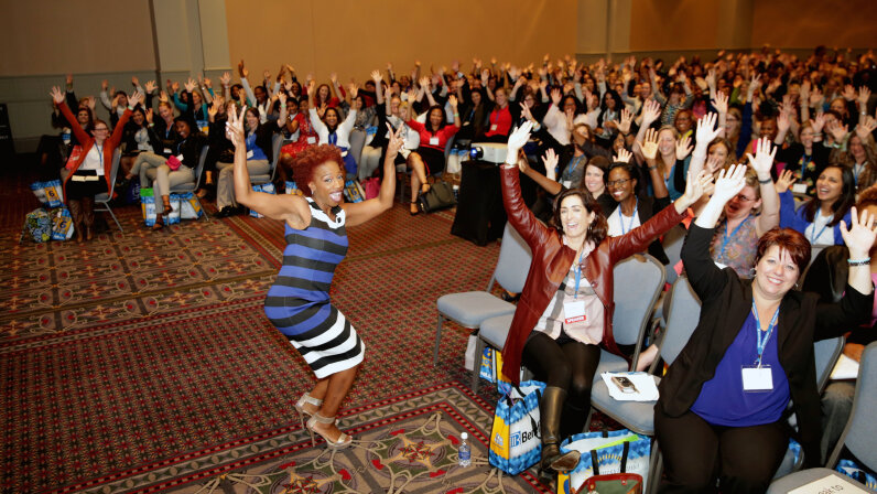Motivational speaker and author Lisa Nichols poses with the audience during the Pennsylvania Conference for Women 2016 in October 2016. Marla Aufmuth/Getty Images