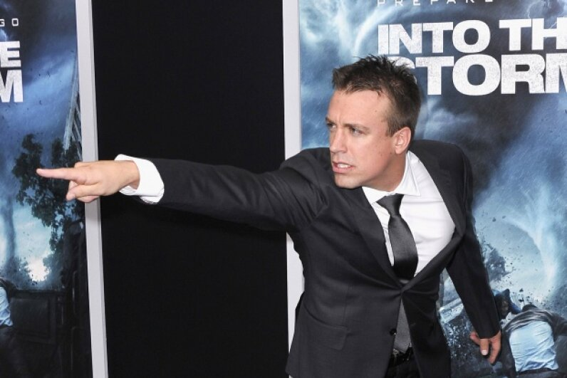 """Real-life storm chaser Reed Timmer might just be clowning for the cameras at the movie's premier, or he might be calling out the makers of """"Into the Storm"""" on their sloppy application of how tornadoes work. © Stephen Lovekin/Getty Images"""
