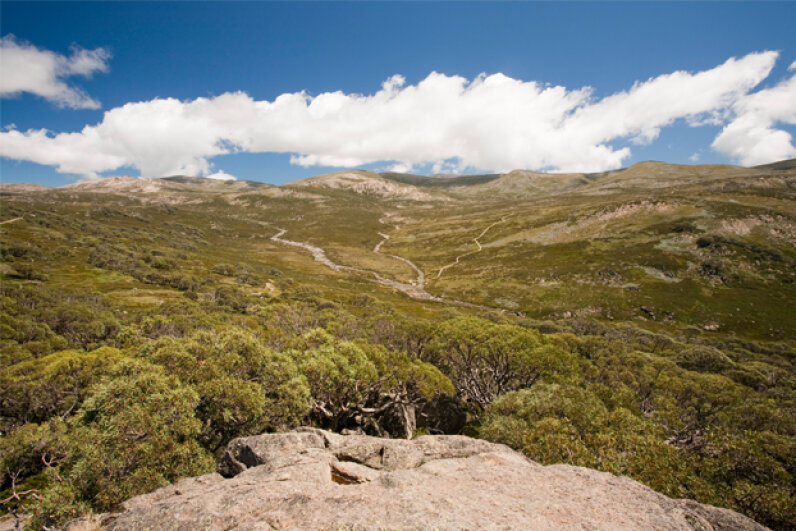 A summertime view of Mount Kosciuszko, Australia's highest peak. © Ashley Cooper/Corbis