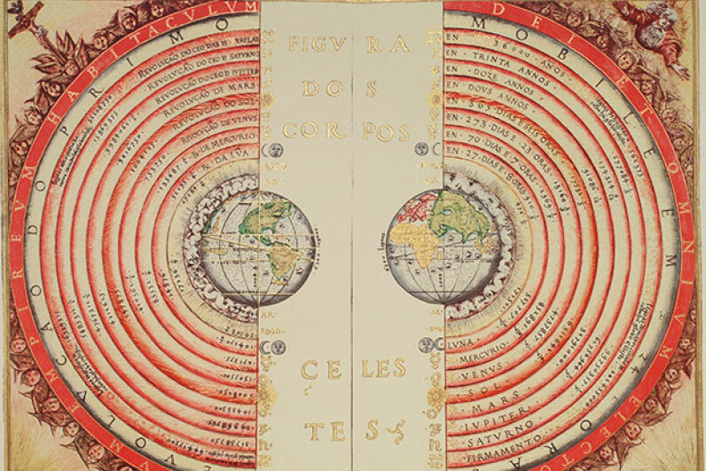 Portuguese cosmographer and cartographer Bartolomeu Velho created this view of the universe with the earth as its center in 1568. Now we know our solar system is just an insignificant part of the Milky Way. Bibliotheque Nationale, Paris/NASA